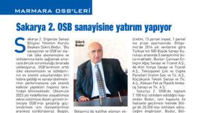 Sakarya 2.OSB sanayisine yatırım yapıyor