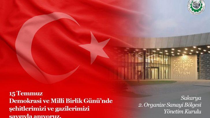 15 Temmuz Demokrasi ve Milli Birlik Günü'nde Şehitlerimizi ve Gazilerimizi Saygıyla Anıyoruz.